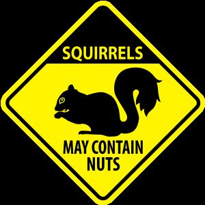 Warnung: Eichhörnchen - kann Nüsse enthalten