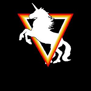 Einhorn springt durch ein Dreieck
