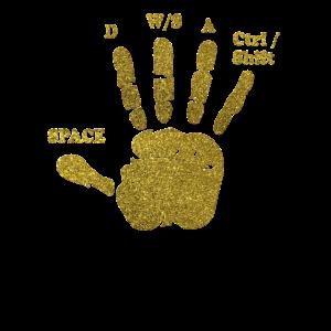 Gamer Hand WASD Zocker Nerd Gold Gaming Geschenk