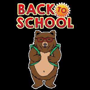 Netter zurück zur Schule entzückender Bär mit Rucksack
