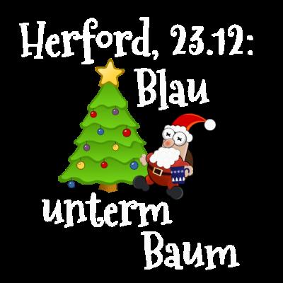 Blau unterm Baum Herford - Am 23.12 eines jeden Jahres begibt sich der Herforder in die Innenstadt um Blau unterm Baum zu feiern. Herford ist dann proppevoll und es wird bei Glühwein in den Heiligabend gefeiert. - Weihnachtsmarkt,Weihnachtsbaum,Weihnachten,Herford,Geschenk,Feiertage,Blau unterm Baum,23.12