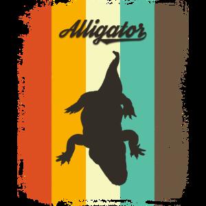 Alligator Retro 70er Jahre Vintage Reptil Liebhaber Geschenk