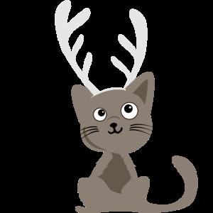 Süße Rentier Katze - Geschenkidee zu Weihnachten