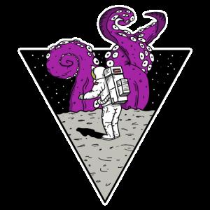 Astronaut der eine Monster entdeckt