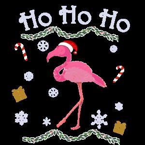Flamingo mit Nikolausmütze auf dem Kopf und Hohoho