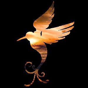 Vogel Phönix Doppelbelichtung Sonnenuntergang