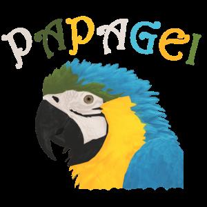 Papagei Kopf Schriftzug Bunt | Geschenk Geburtstag