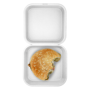 Burger Box mit angebissenem Burger