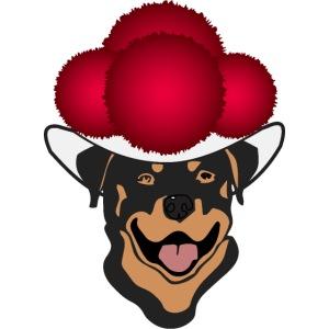 Rottweiler mit rotem Bollenhut