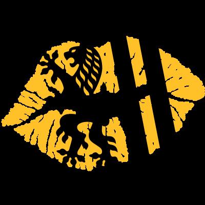 Kussmund (Dresden) - Kussmund mit der Flagge von Dresden -- Alle Farben frei wählbar (2) -- - symbol,löwe,Wappen,Sachsen,Mund,Lippenstift,Landeshauptstadt,Kuss,Dresden,Abdruck