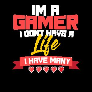 Gamer Spieler Leben Herzen Zocker Spieler Geschenk