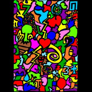 Doodle bunt Modern Pop Art Zeichnung Geschenk