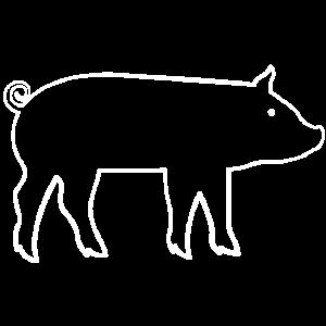 Schwein weißer Umriss