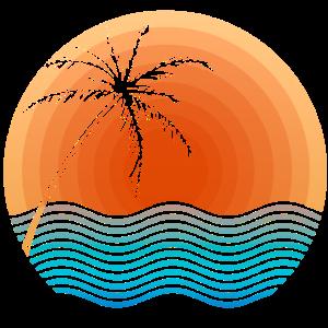 Sonnenuntergang mit Palme und Meer