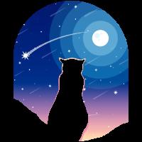 Katze Mond und Sternschnuppe in der Nacht