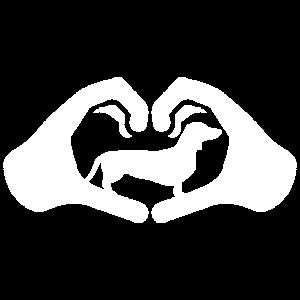 Dackel Hände Herz Geschenkidee