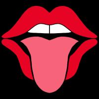 Mund mit ausgestreckter Zunge