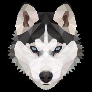 Husky Polygon Hund Eis Schnee Tierliebe Geschenk