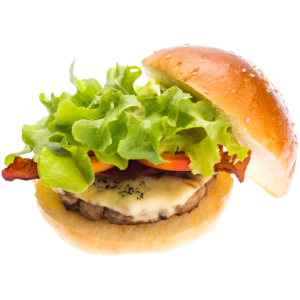 Cheeseburger mit gebratenem Speck