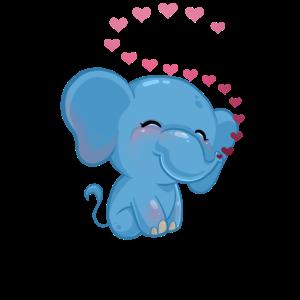 Blauer süßer blauer Elefant mit Herzchen