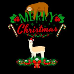 Frohe Weihnachten Schlafen Faultier Lama mit Mütze