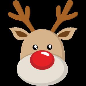 Rentier Rudolf Gesicht Süße Rote Nase Geweih