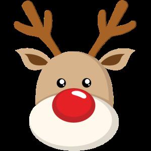 Süßes Rentier Rote Stupsnase Gesicht Weihnachten