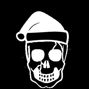 Totenkopf mit Weihnachtsmütze