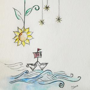 Aquarell Papierboot