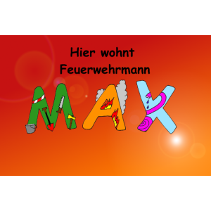 Hier wohnt Feuerwehrmann Max - Kinderzimmer Poster