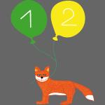 Süßer Fuchs mit zwei Luftballons zum 2. Geburtstag
