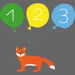 Süßer Fuchs mit drei Luftballons zum 3. Geburtstag