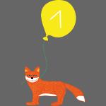 Süßer Fuchs mit Luftballon zum 1. Geburtstag