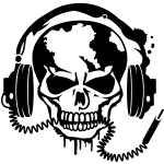 Totenschädel mit Kopfhoerer