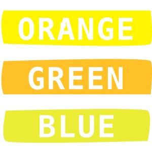 3 Farben, englisch