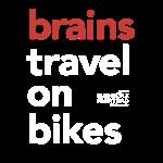 Brains travel on bikes, Typo weiß
