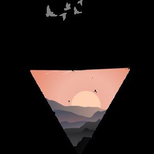 Mountains / Berge Diamant Motiv Style schwarz rosa
