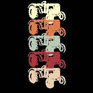 Traktor in fünf Farben
