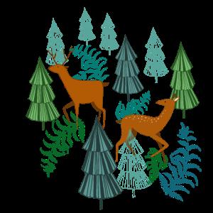 Jagdzeit Waldbewohner Hirsch und Reh Geschenk