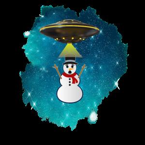 Xmas Schneemann Sci-Fi UFO Alien Entführung Wissenschaft