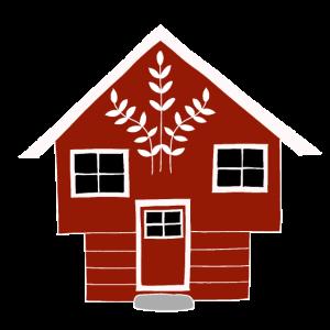 Skandinavisches Design Norwegens rotes Haus im Geschenk