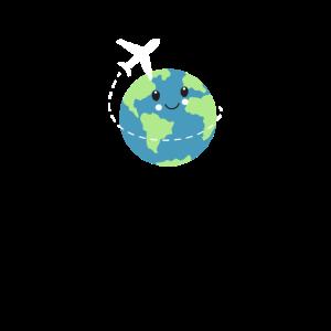 Weltreise Happy Traveller Weltkugel Flug Urlaub