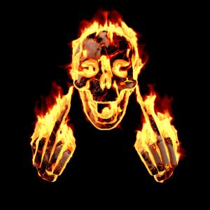 Feuer Totenkopf Rock Fick Dich Mittelfinger Lustig