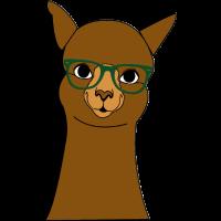 Alpaka braun mit grüner Brille