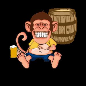 Affe mit Bier besoffen, lustige Geschenkidee