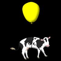 Eine Kuh hängt an einem Ballon