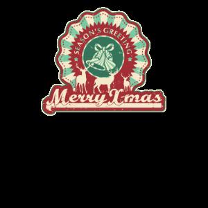Merry Xmas Fröhliche Weihnachten Retro