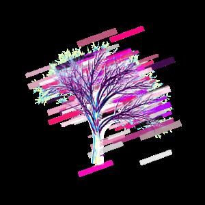 Baum branche 80er Retro Violett