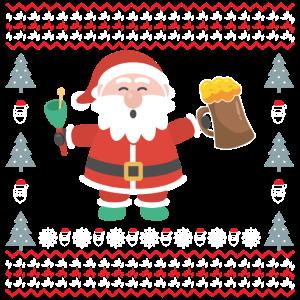 Weihnachtsmann Ugly Bier Besoffen Saufen Fest