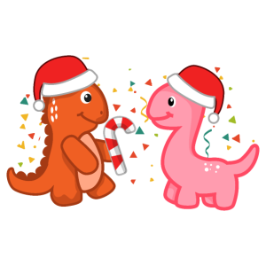 Weihnachts-Dinos Party Zuckerstange - Geschenk